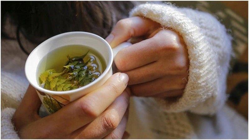 Монастырский чай в кружке в руках у девушки